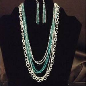 Intensely Industrial Green & Silver Necklace Set